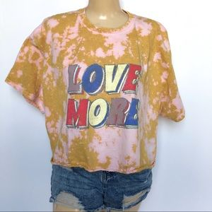 LOVE MORE BLEACHED GRAPHIC SKIMMER TEE